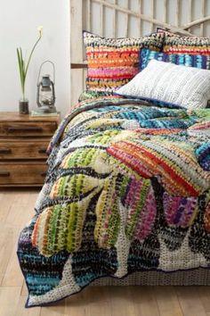 NIP-ANTHROPOLOGIE-Gila-TWIN-QUILT-4-Shams-Floral-Hothouse-Comforter-Bedding green orange purple blue pink red