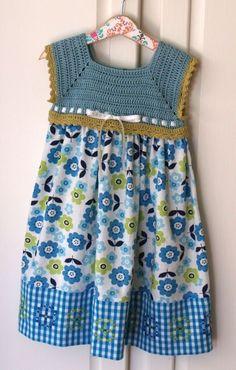 """Toddler Sundress - Flower Power and Sweetness Crochet Bodice Sundress - Size 3T (SUND114). $52.00, via Etsy. [   """"Toddler Sundress - Flower Power and Sweetness Crochet Bodice Sundress - Size"""" ] #<br/> # #Crochet #Yoke,<br/> # #Crochet #Girls,<br/> # #Crochet #Dresses,<br/> # #Crochet #Baby,<br/> # #Flower #Power,<br/> # #Sundresses,<br/> # #Bodice,<br/> # #Toddlers,<br/> # #Clothes<br/>"""