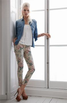 Floral pants, white top, denim jacket