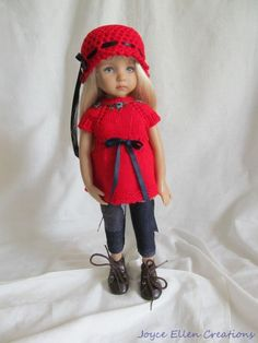 "Little Darling Dianna Effner 13""BJD red & denim hand knit set OOAK by JEC #JoyceEllenCreations"