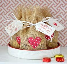 Hi Sugarplum | Burlap Valentine Treat Bags