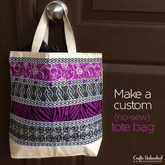 NO SEW! Handmade Gift Idea: Cute Custom Tote/Grocery Bags.
