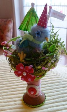 paintinpatti.typepad.com  Felted Bluebird by Vivian, for the Nest Swap! So cute!!!   http://vivs-whimsy.blogspot.com/