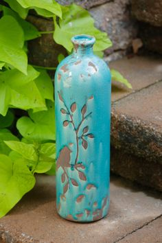 Your Heart's Delight by Audrey's - POTTERY - BIRDS N BRANCHES VASE TURQUOISE