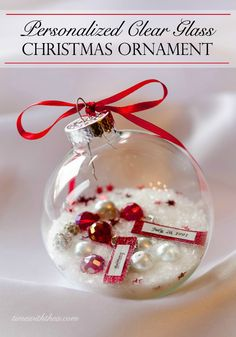 Personalized Clear Glass Christmas Ornament Gift ~ Inspiration and instructions for how to make a gift ornament that is personal, unique and gorgeous! A fun Christmas craft tutorial! / timewiththea.com