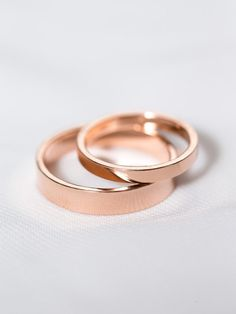 14k Rose Gold His & Hers Rings | Rose Gold Wedding Rings | Matching Wedding Band Set [The London Wedding Band Set]