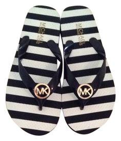 d730aba82807 Micheal Kors navy and white stripe flip flops