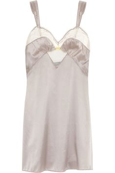 Elle Macpherson Intimates | Duo lace-trimmed stretch-silk satin chemise | NET-A-PORTER.COM