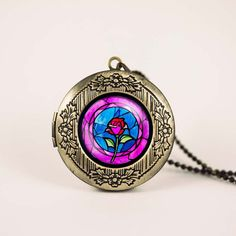 Beauty and the Beast rose Belle disney princess stained glass vintage pendant locket necklace - ready for gifting - buy 3 get 4th one free on Etsy, $17.00