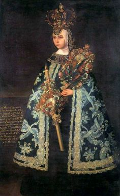 """Baroque Mexican Crowned Nuns. José María de Alcíbar, """"Portrait of Profession of Sister Maria Ignacia of the Blood of Christ Uribe and Valcárcel, Convent of Santa Clara de Mexico"""", oil on canvas, 182 x 100 cm, 1777, Collection: National Museum of History """"Castle of Chapultepec"""". The magnificent embroidery of her cloak are a wonder in detail in this painting."""