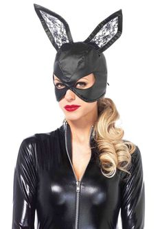 Leg Avenue Women's Bunny Mask Costume Accessory, Black, One Size #LegAvenue