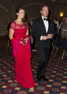 Princess Madeleine of Sweden with fiancee Chris O'Neill arrived at the gala dinner for the 375th anniversary of the founding of the new Sweden in Wilmington 11 May 2013