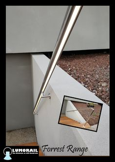 The stunning Forrest Range LED Illuminated handrail, the perfect outdoor safety feature for this home in Berwick. Featuring our patented hollow bracket adapter system. See www.lumorail.com.au for more info.
