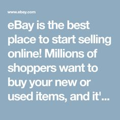 eBay is the best place to start selling online! Millions of shoppers want to buy your new or used items, and it's easy to sell online and make money. Sell Your Stuff, Make And Sell, How To Make Money, Stuff To Buy, Things To Sell, Selling Online, Selling On Ebay, What Can I Sell, Home Recording Studio Setup