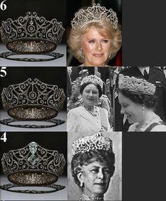 4.  Мария  Текская   в  диадеме, 5. Королева - мать 6. Камилла  Корнуолл   в  диадеме.