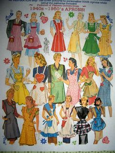 I want this pattern! Great aprons for the retro style cook. I remember my Mom having some lovely aprons. Fabric Crafts, Sewing Crafts, Sewing Projects, Patron Vintage, Vintage Apron, Retro Mode, Cute Aprons, Sewing Aprons, Jolie Photo
