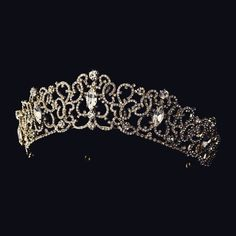 """""""The Cecily"""" Regal Silver/Gold Clear Crystal Tiara"""