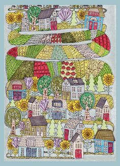 neighborhood garden archival print igment print of an original drawing and watercolor.