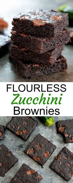These flourless zucchini brownies are fudgy and chocolatey. They are also gluten free, grain-free, and paleo. It's an easy one bowl recipe and a great way to use up zucchini. Gluten Free Zucchini Brownies, Zucchini Desserts, Dairy Free Brownies, Zucchini Cookies, Gluten Free Zucchini Recipes, Recipe Zucchini, Gluten Free Grains, Keto Cookies, Against All Grain