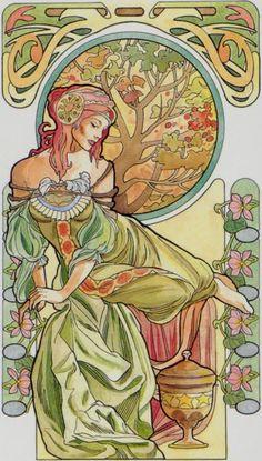 Tarot Nouveau | La reine de coupes - Tarot art nouveau par Antonella Castelli