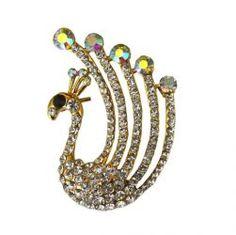 Via Mazzini Crystal Peacock Brooch