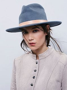 The Mack Felt Hat | Fedora style hat with a wide and structured brim.  Leather band.