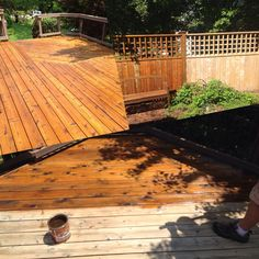 Cedar deck restoration in progress with Ready Seal by: JH Painting  https://m.facebook.com/JandHPainting