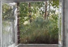 Uitzicht vanuit atelier op de tuin / Kroese, Ad