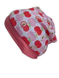 Modische Mütze aus Jersey für kleine Mädchen , Weiß mit roten Äpfeln und gestreiften Bündchen. Ein echter Hingucker    Gr. 1 = KU 44 ca. 6 Monate  ...
