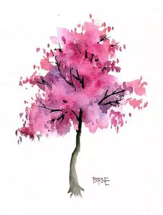 Uploaded by Pizzaland. Find images and videos about beautiful, pink and art on We Heart It - the app to get lost in what you love. Watercolor Bookmarks, Pen And Watercolor, Watercolor Trees, Watercolor Landscape, Abstract Watercolor, Watercolor Illustration, Watercolour Painting, Watercolours, Chalk Art