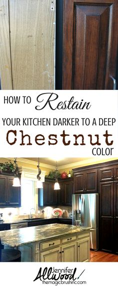 How to restain your kitchen cabinets. I am in LOVE with this Chestnut finish. It's a rich, warm nutmeg / mahogany / cognac brown that can change your old oak cabinetry (or any other worn-out stained cabinets/furniture) in the very EASIEST of steps. It's a perfect finish over anything oak or previously stained….. cabinets, vanities, furniture, tables and chairs. More finish how-to videos at TheMagicBrushinc.com