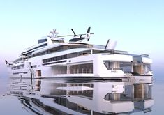 INES is a luxury superyacht by Spanish yacht designer Alvaro Aparicio de Leon. This yacht concept has two helicopter landing pads. Power Boats, Speed Boats, Yacht Luxury, Most Expensive Yacht, Expedition Yachts, Big Yachts, Whitewater Kayaking, Yacht For Sale, Canoe Trip
