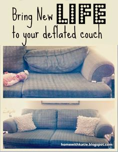 Instruction On How To Fix An Old, Deflated Couch. It Is So Easy, And FREE!  Great Idea To Help Bring A Newer, Fresher Look To A Living Room Couch.