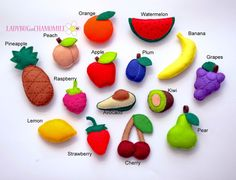 WWW.LADYBUGONCHAMOMILE.COM Cute magnet fruits. Set of 15 funny miniature fruits and berries, made of felt, stuffed with polyester