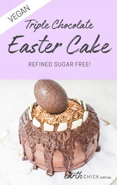 This baby does not scrooge on the things that matter (like the chocolate), but forgets the nasty refined sugar. Vegan chocolate lovers, this one& for you! Vegan Chocolate Frosting, Chocolate Easter Cake, Vegan Frosting, Vegan Dark Chocolate, Chocolate Lovers, Chocolate Desserts, Fun Baking Recipes, Healthy Dessert Recipes, Easter Recipes