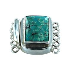 AQUA CHINESE TURQUOISE STERLING CUSHION CLASP 5 STRAND