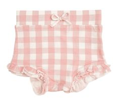 High Waist Shorts - * 95% Cotton Muslin/ 5% Spandex * Wash Cold/Dry Low Heat or Hang Dry Gingham Shorts, Pink Gingham, Boho Fashion Fall, Ruffle Bloomers, Baby Necessities, Baby Gown, Kid Styles, Baby Boutique, Toddler Fashion