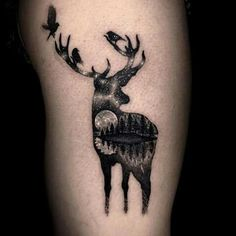 Moonlight deer tattoo by V around Tattooer
