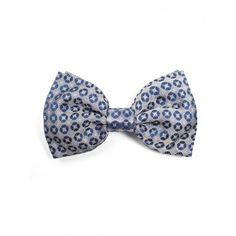 Pajarita de seda jacquard en color gris con print geométrico bordado  al puro estilo del clásico cobradero en color azul marino - SOLOiO