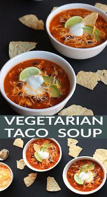 Vegetarian Taco Soup - FOODS RECIPE Vegetarian Tacos, Tasty Vegetarian Recipes, Vegan Soups, Lunch Recipes, Cooking Recipes, Healthy Recipes, Vegan Meals, Olives, Chowder Recipes