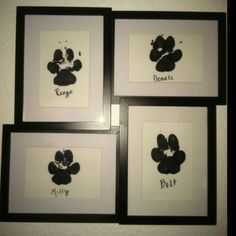 Paw prints! awe so cute! I have to do this, although my dogs paw prints would be unrecognizable because of how hyper they are! lol