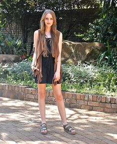 More looks by Nikki S: http://lb.nu/fashionablepassion  #bohemian #casual #minimal #boho #fringe #suede #vest #khaki #sandals