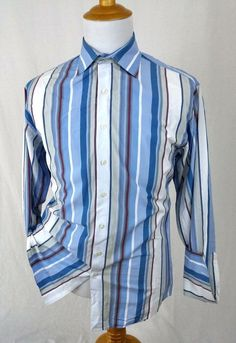Thomas Pink London Dress Shirt Large Fine Cotton Blue Striped French Cuffs $225 #ThomasPink