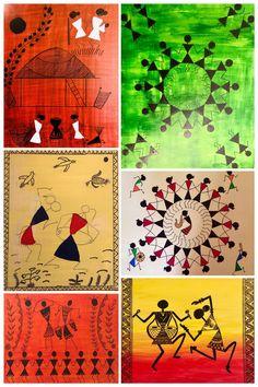 Art by rocking students Colorbook Oil Pastel Drawings Easy, Indian Wall Art, Worli Painting, Simple Canvas Paintings, Mandala Art Lesson, Indian Art Paintings, Art N Craft, Happy Art, Tribal Art