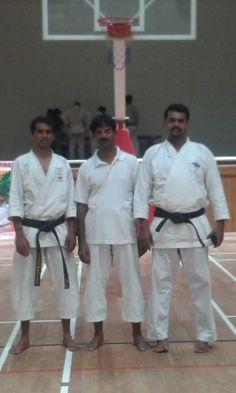 Sensei P.K.Gopalakrishnan, sensei vinoth methaw and sensei karate sankar at Kerale 2014.