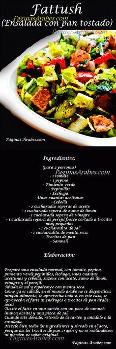Fattush - (Ensalada con pan tostado) http://paginasarabes.com/2012/03/06/fattush-ensalada-con-pan-tostado/