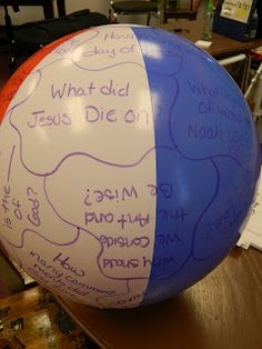 Hands On Bible Teacher: Bible beach ball review game.  For kids who can not read yet, could glue picture of Bible story or character and ask child to tell about it.