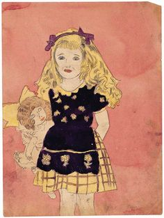 STUDY OF A VIVIAN GIRL WITH DOLL / Henry Darger (1892–1973), Chicago, mid-20th century, watercolor, carbon tracing, and pencil on paper  12 x 9 in.  American Folk Art Museum, gift of Robert and Louise Kleinberg in celebration of granddaughter Cecelia Cooley, 2004.15.1, © Kiyoko Lerner, photo by Gavin Ashworth