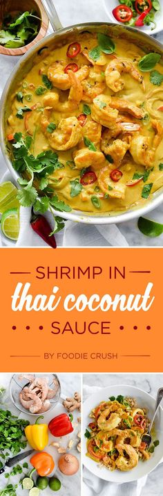 Shrimp in Thai Coconut Sauce 7 Delicious Dinner Ideas Thai Recipes, Fish Recipes, Seafood Recipes, Asian Recipes, Great Recipes, Cooking Recipes, Favorite Recipes, Healthy Recipes, Recipies