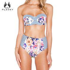69971d332d4cf Floral High Waist Push Up Bandeau Bikini Swimwear